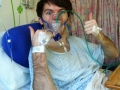 Stephen in hospital shortly after waking up from an operation!