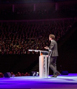 Stephen talking in front of 4,000 at the O2 Arena in London