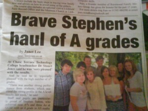 Stephen's exam success at the end of Year 11